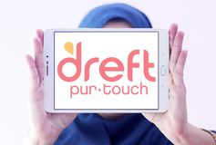 Dreft laundry detergent brand logo. Logo of Dreft brand on samsung tablet holded by arab muslim woman. Dreft is a laundry detergent in the United States, Canada royalty free stock photography