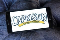 Capri Sun juice drink company logo. Logo of drinks company Capri Sun on samsung mobile . Capri Sun is a brand of juice concentrate drink owned by the German Stock Images