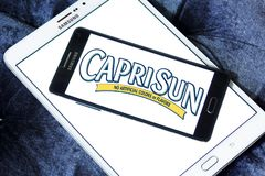 Capri Sun juice drink company logo. Logo of drinks company Capri Sun on samsung mobile on samsung tablet. Capri Sun is a brand of juice concentrate drink owned Stock Photos
