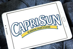 Capri Sun juice drink company logo. Logo of drinks company Capri Sun on samsung tablet.  Capri Sun is a brand of juice concentrate drink owned by the German Stock Photo
