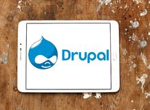 Drupal web framework logo. Logo of Drupal on samsung tablet. Drupal is a free and open source content-management framework written in PHP and distributed under Royalty Free Stock Images
