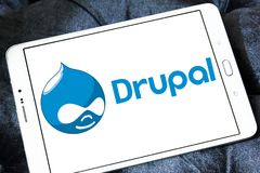 Drupal web framework logo. Logo of Drupal on samsung tablet. Drupal is a free and open source content-management framework written in PHP and distributed under royalty free stock photo