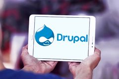 Drupal web framework logo. Logo of Drupal on samsung tablet. Drupal is a free and open source content-management framework written in PHP and distributed under Royalty Free Stock Photography