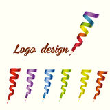 Logo dsign. Decorative and creative colorful pencils - collection of vrctor logo templates stock illustration