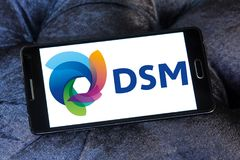 DSM company logo. Logo of DSM company on samsung mobile. DSM is a Dutch multinational active in the fields of health, nutrition and materials stock images
