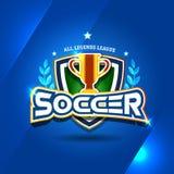 Logo du football du football avec la tasse d'or Calibre de conception d'insigne du football, logotype de sport T-shirt orienté Fo illustration libre de droits