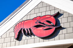 Logo du restaurant rouge de fruits de mer de homard Images libres de droits