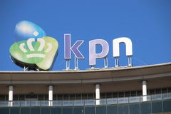 Logo of dutch telecom provider KPN on the Maanplein in The Hague in the Netherlands. Logo of dutch telecom provider KPN on the Maanplein in The Hague in the stock image