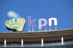 Logo of dutch telecom provider KPN on the Maanplein in The Hague in the Netherlands. Logo of dutch telecom provider KPN on the Maanplein in The Hague in the stock photos