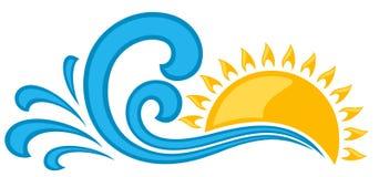 Logo e mare di Sun Fotografia Stock Libera da Diritti