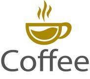 Logo e modello del caffè della tazza Fotografia Stock Libera da Diritti