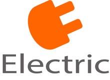 Logo e modello elettrici dell'incavo Immagini Stock