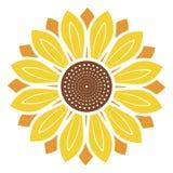 Logo e simbolo dell'illustrazione di vettore del girasole nello stile piano immagini stock libere da diritti