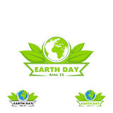 Logo Earth Day. Vector illustration with the words, planets and green leaves. Vector illustration on white background Royalty Free Stock Image