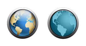 Globe Logo. Logo earth globe, planet with American and African continent isolated in silver ring Stock Image