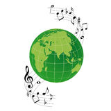 Logo the earth and musical notes Stock Images