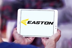 Easton Baseball brand logo. Logo of Easton Baseball on samsung tablet . Easton sells baseball bats, softball bats, ball gloves, batting helmets, catcher`s gear Royalty Free Stock Photo