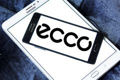 ECCO shoe manufacturer logo. Logo of ECCO shoe manufacturer on samsung mobile. ECCO Sko is a Danish shoe manufacturer and retailer Stock Image
