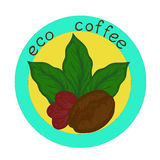 Logo eco coffee. Logo with the image of germinated beans, coffee leaves and coffee berry Stock Photography