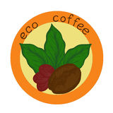 Logo eco coffee. Logo with the image of germinated beans, coffee leaves and coffee berry Stock Image