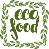 Logo eco food with leaves. Lettering eco food. Frame with leaves. Logo eco food with leaves, natural product, organic, healthy food. eco food badge in vector ( Royalty Free Stock Photo