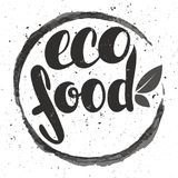 Logo eco food with leaves. Organic food badge in vector cosmeti Stock Images