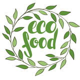 Logo eco food with leaves. Organic food badge in vector (cosmeti Stock Photos