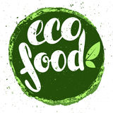 Logo eco food with leaves. Organic food badge in vector (cosmeti Royalty Free Stock Photography