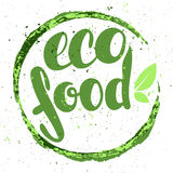Logo eco food with leaves. Organic food badge in vector (cosmeti Stock Photography