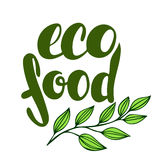 Logo eco food with leaves. Organic food badge in vector cosmeti Royalty Free Stock Photography