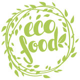 Logo eco food with leaves. Organic food badge in vector cosmeti. Logo eco food with leaves, natural product, organic, healthy food. Organic food badge in vector stock illustration