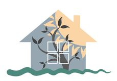 Logo of the eco-friendly house. A logo of an eco-friendly cottage with a tree and a sunset Stock Photo