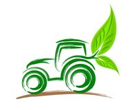 Logo of eco friendly tractor. Stock Photo