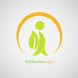 Logo eco tourism. Vector logotype eco tourism. A tourist with a backpack on his back Stock Image