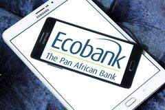 Ecobank Transnational logo. Logo of Ecobank on samsung mobile. Ecobank Transnational ETI, is a pan African banking conglomerate, with banking operations in 36 Stock Image