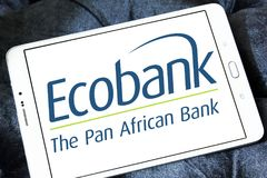 Ecobank Transnational logo. Logo of Ecobank on samsung tablet. Ecobank Transnational ETI, is a pan African banking conglomerate, with banking operations in 36 Stock Photos