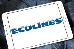 Ecolines coach organisation logo. Logo of Ecolines coach organisation on samsung tablet. Ecolines is a long distance coach organisation with a transnational Stock Photo