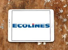 Ecolines coach organisation logo. Logo of Ecolines coach organisation on samsung tablet. Ecolines is a long distance coach organisation with a transnational Royalty Free Stock Images