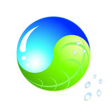 Logo - ecology yinyang. Blue drop and green leaf Royalty Free Stock Photo