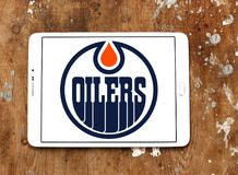 Edmonton Oilers ice hockey team logo. Logo of Edmonton Oilers team on samsung tablet. The Edmonton Oilers are a professional ice hockey team royalty free stock image