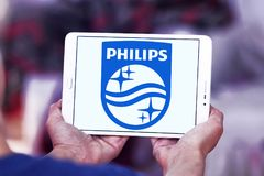 Philips logo. Logo of electronics company philips on samsung tablet Stock Images