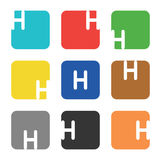 Logo element, letter H in square Stock Photos