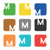Logo element, letter M in square Stock Photography