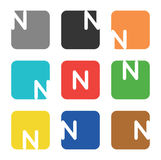 Logo element, letter N in square Stock Image
