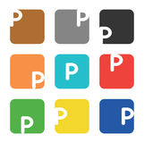 Logo element, letter P in square Royalty Free Stock Photography