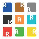 Logo element, letter R in square Stock Photography