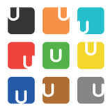 Logo element, letter U in square Stock Photo