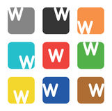 Logo element, letter W in square Royalty Free Stock Images