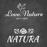 Logo Elements avec des motifs naturels sur le panneau de craie Photographie stock