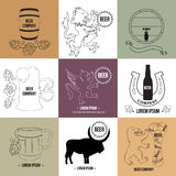 Logo and elements for beer house, pub, brewing Stock Photography